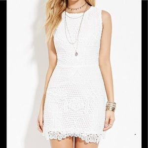 Forever 21 White Lace Stretch Dress Open Back